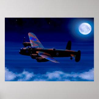 Poster Vol de nuit de bombardier de Lancaster
