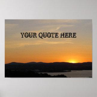 Poster Votre de citation affiche de coucher du soleil ici