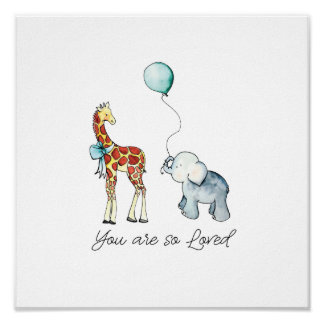 Poster Vous êtes ainsi éléphant et girafe aimés