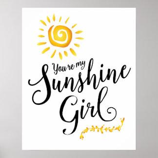 Poster Vous êtes mon affiche d'art de fille de soleil
