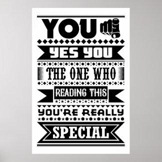 Poster Vous êtes spéciaux (la citation de motivation)