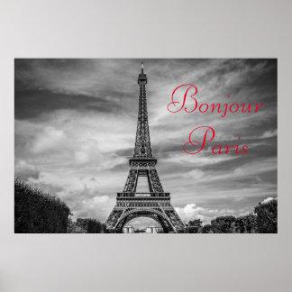 Poster Voyage blanc noir de Tour Eiffel de Bonjour Paris