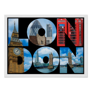 Poster Voyage de typographie de Londres Angleterre