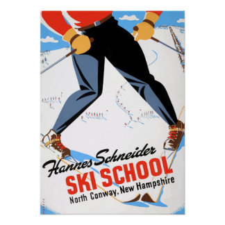Poster Voyage du nord vintage de ski de Conway New