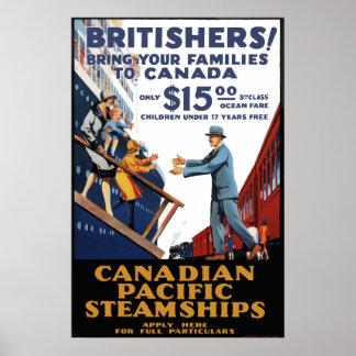 Poster Voyage Pacifique canadien vintage du Canada de