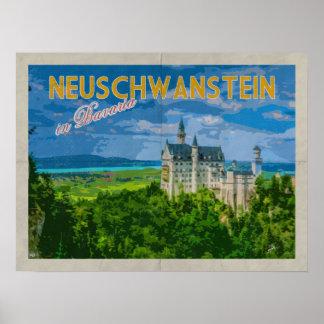 Poster Voyage vintage affligé par château de