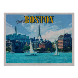 Poster Voyage vintage affligé par Massachusetts de Boston