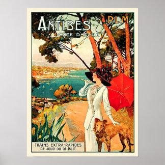 Poster Voyage vintage d'Antibes Cote d'Azur