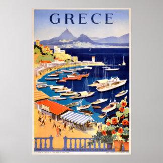 Poster Voyage vintage d'Athènes Grèce