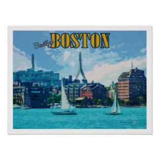 Poster Voyage vintage de Boston le Massachusetts
