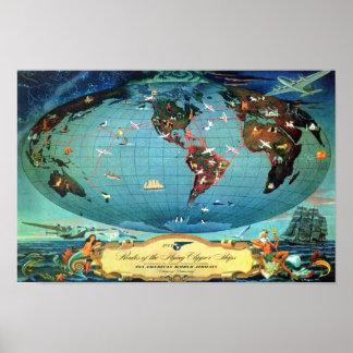 Poster Voyage vintage de carte du monde d'itinéraire de