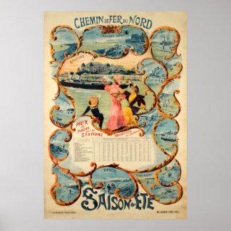 Poster Voyage vintage de Chemin de fer du Nord Saison