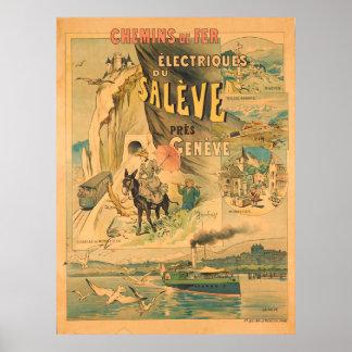 Poster Voyage vintage de Chemins de Fer Electrique du