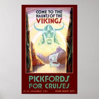 Poster Voyage vintage de croisière de la Scandinavie