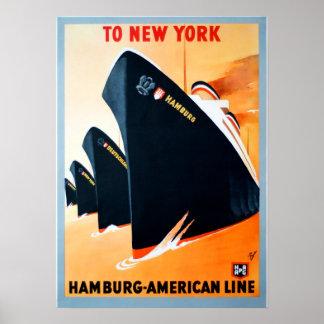 Poster Voyage vintage de croisière de New York Hambourg