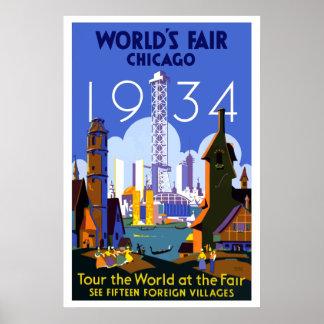 Poster Voyage vintage de l'Exposition universelle de