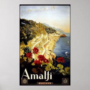 Poster Voyage vintage de l'Italie de côte d'Amalfi