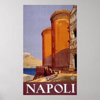Poster Voyage vintage de Napoli Italie Naples Italie