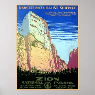 Poster Voyage vintage de parc national de Zion