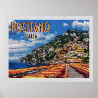 Poster Voyage vintage de Positano Italie Amalfi