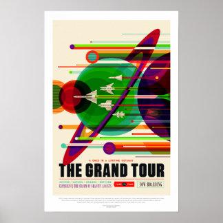 Poster Voyage vintage de système solaire de visite grande