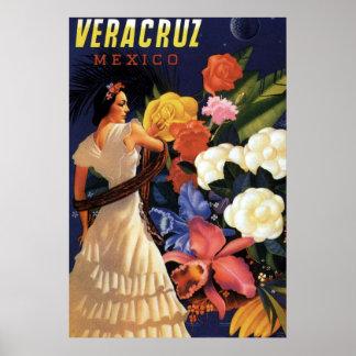 Poster Voyage vintage de Veracruz Mexique