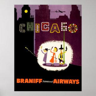 Poster Voyage vintage de voies aériennes internationales