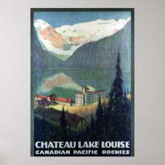 Poster Voyage vintage des Rocheuses Lake Louise de