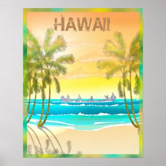 Poster Voyage vintage d'Hawaï