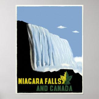 Poster Voyage vintage du Canada et des chutes du Niagara