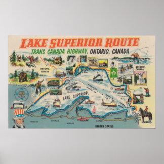 Poster Voyage vintage du lac Supérieur Ontario Canada