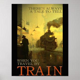 Poster Voyage vintage par chemin de fer