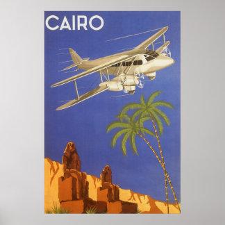 Poster Voyage vintage vers le Caire, Eygpt, avion de