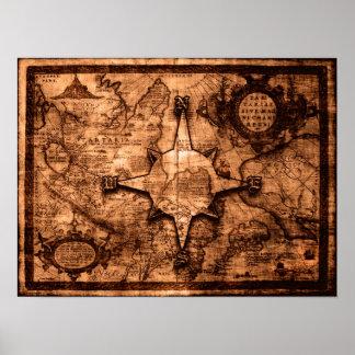 Poster Voyageur antique du monde - rose de carte et de