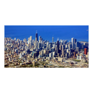 Poster Vue aérienne de Chicago du centre avec le lac