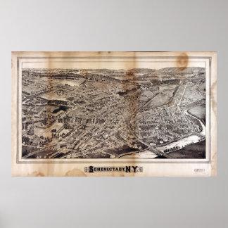 Poster Vue aérienne de Schenectady, New York (1882)