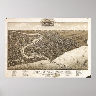 Poster Vue aérienne de Sheboygan, le Wisconsin (1885)
