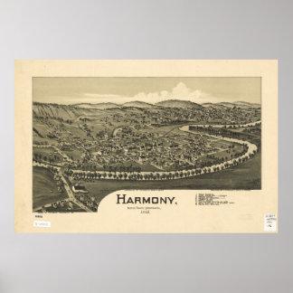 Poster Vue aérienne d'Harmony, Pennsylvanie (1901)