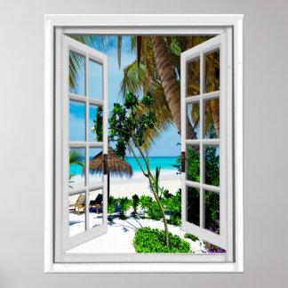 Poster Vue artificielle de détente de fenêtre de plage