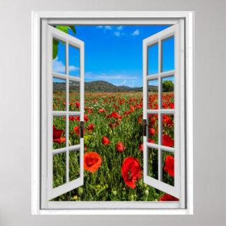 Poster Vue artificielle de fenêtre de Faux de champ de