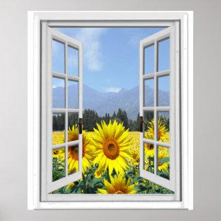Poster Vue artificielle de fenêtre de Faux de jardin de