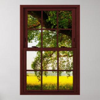 Poster Vue de chêne en bois de fenêtre panoramique de