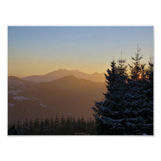 Poster Vue de coucher du soleil des montagnes de Tatras