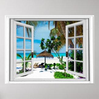 Poster Vue de détente de plage et de fenêtre de Faux
