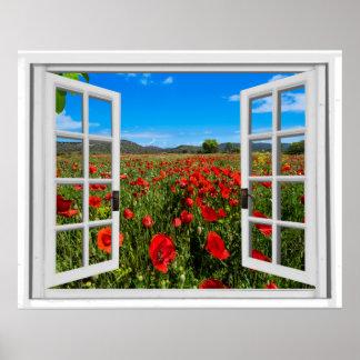 Poster Vue de fenêtre de Faux de champ de pavot