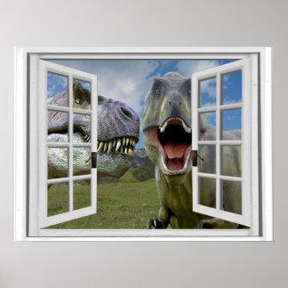 Poster Vue de fenêtre de Faux de dinosaures de T-Rex
