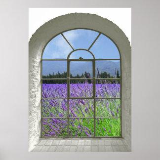 Poster Vue de fenêtre de Faux de jardin de lavande