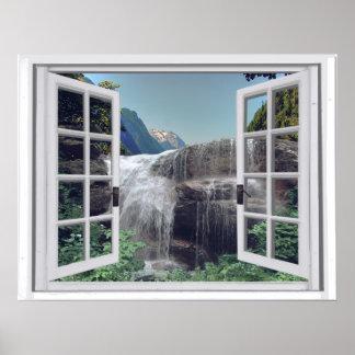 Poster Vue de fenêtre de Faux de montagne de cascade