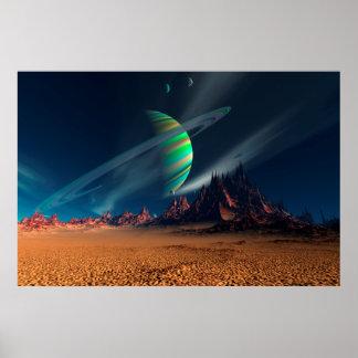 Poster Vue de lune de planète Newerades