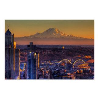 Poster Vue de paysage urbain de Seattle du centre, le foo